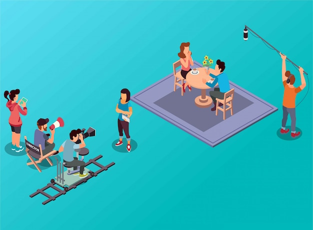 A romance film making process isometric illustration