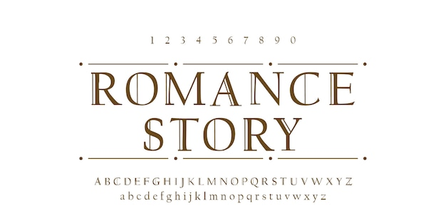 Romance font alphabet typographic design