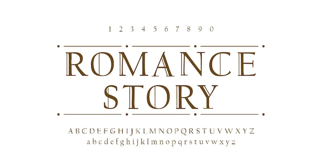 ロマンスフォントアルファベット文字体裁デザイン
