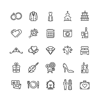 Romance wedding celebration and love in marriage vector line icons