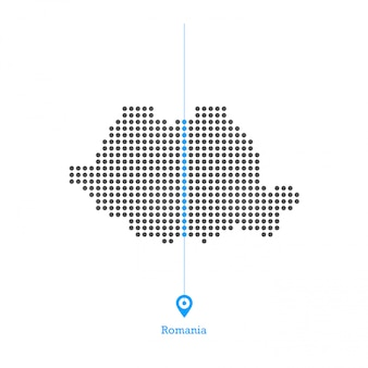 Romania doted map design vector