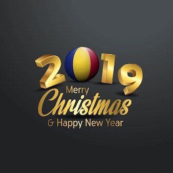Romania flag 2019 merry christmas typography