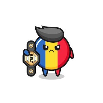 Символ талисмана флага румынии как боец мма с поясом чемпиона, милый стиль дизайна для футболки, наклейки, элемента логотипа