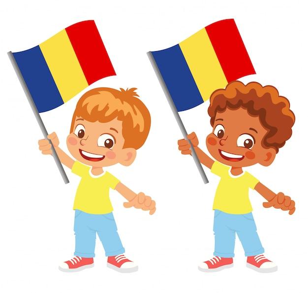 ルーマニアの旗を手にセット