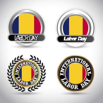 Romania flag labour day design vector