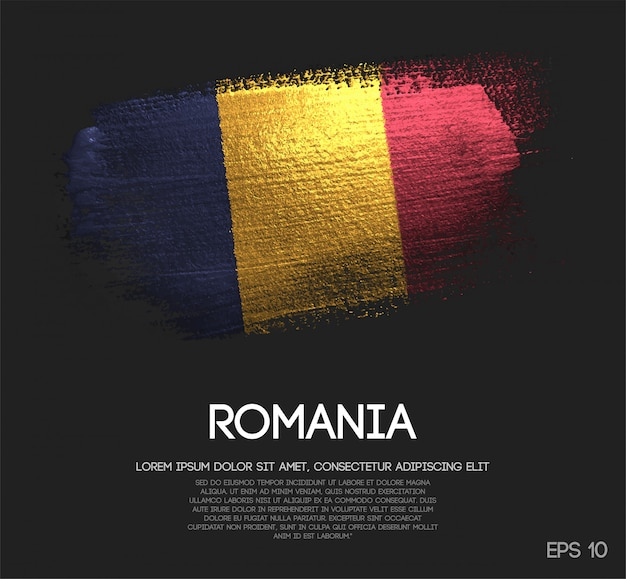 Romania flag made of glitter sparkle brush paint