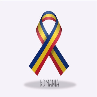 Romania flag ribbon design