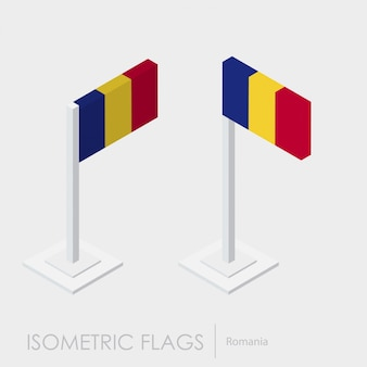 Romania isometric flag