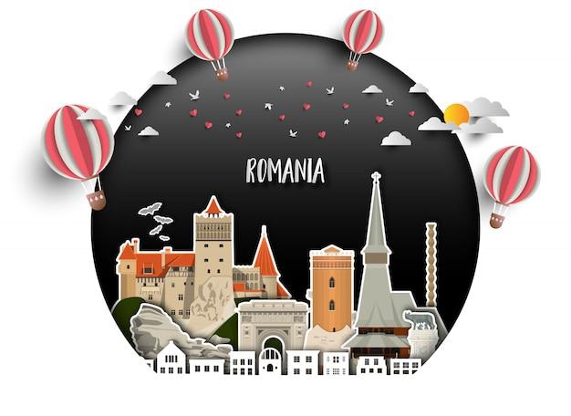 루마니아 랜드 마크 글로벌 여행 및 여행 종이 배경.