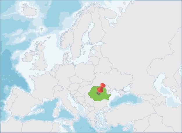 ヨーロッパ地図上のルーマニアの場所