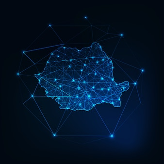 Romania map low polygonal glowing silhouette outline