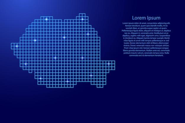 파란색 모자이크 구조 사각형과 빛나는 별에서 루마니아 지도 실루엣. 벡터 일러스트 레이 션.
