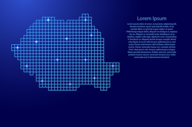 Romania map silhouette from blue mosaic structure squares and glowing stars. vector illustration.