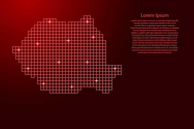 Romania map silhouette from red mosaic structure squares and glowing stars. vector illustration.
