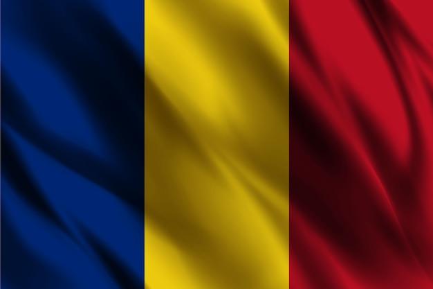 シルクの背景を振ってルーマニアの国旗