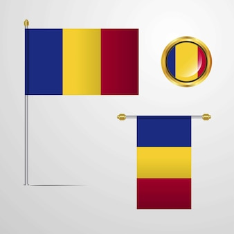 Romania waving flag design with badge vector