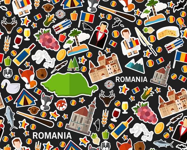 Векторные плоские бесшовные текстуры картины romania