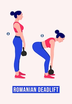 Romanian deadlift exercise woman workout fitness aerobic and exercises