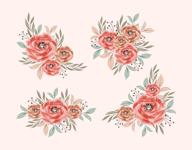 Романтический и красивый акварельный букет с цветочным декором