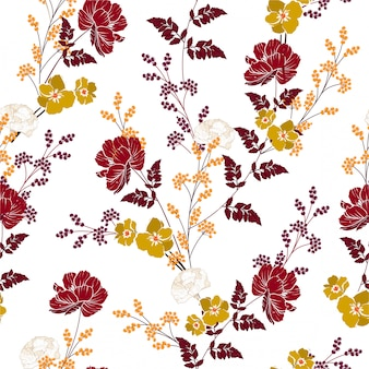 Romantic autumn blooming flowers and botanical plant seamless floral pattern