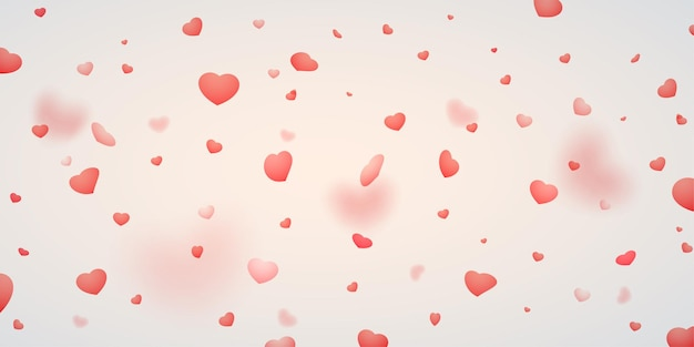 떨어지는 하트의 낭만적 인 배경입니다. 발렌타인 데이 개념