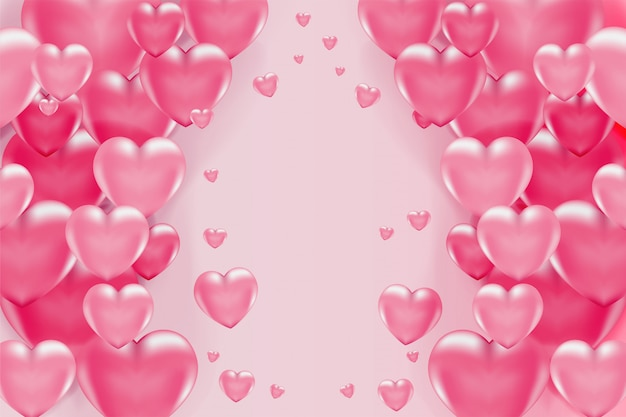 Романтический фон с 3d розовыми сердечками на день святого валентина