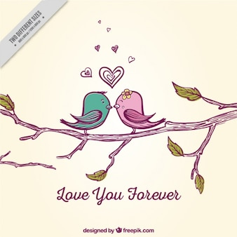 Romantic background with cute birds on a branch