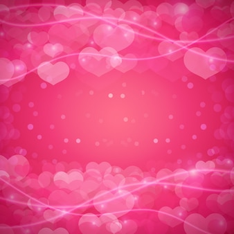 Romantic background with hearts and sparkles.