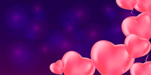 Romantic background with rose heart balloons.