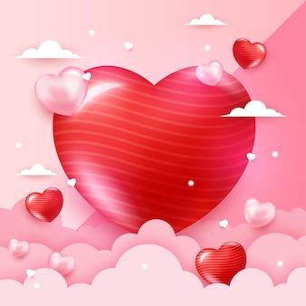 形の心とロマンチックな背景 Premiumベクター