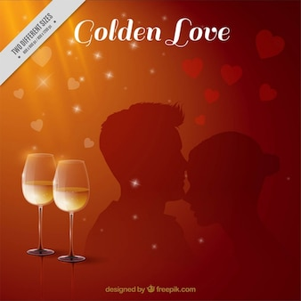 Romantic background with wine glasses and couple's silhouette