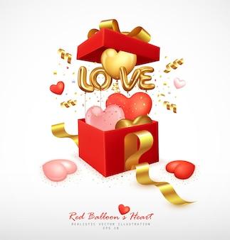 ロマンチックな風船のハートと文字の愛がギフトボックスから跳ね返る