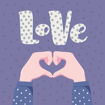 Romantic banner, greeting card design with two human hands folding in shape of heart and word love with polka dot pattern