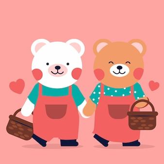 손에 매달려 양동이 함께 걷는 로맨틱 곰 커플