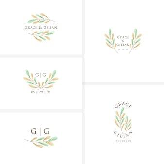 Romantic and beautiful monogram wedding logo template