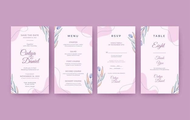 Romantic and beautiful vertical wedding invitation template
