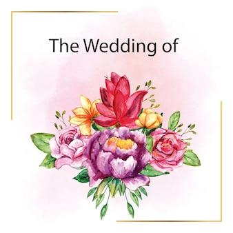 잎이 있는 꽃의 낭만적인 아름다운 수채화 청첩장 꽃다발
