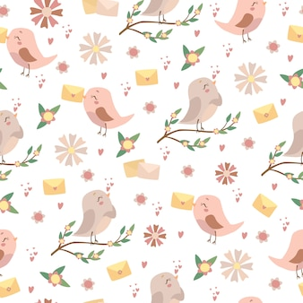 Modello di uccelli romantici