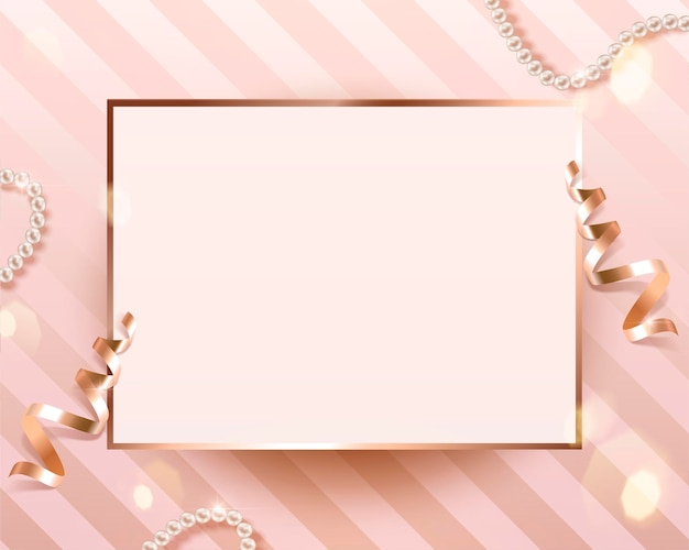 Romantic blank card template with golden streamer and stripe background in 3d illustration