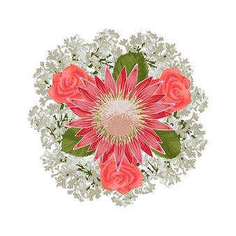 ロマンチックな花束の花の構成はがきの結婚式の招待状のグリーティングカードのモックアップ