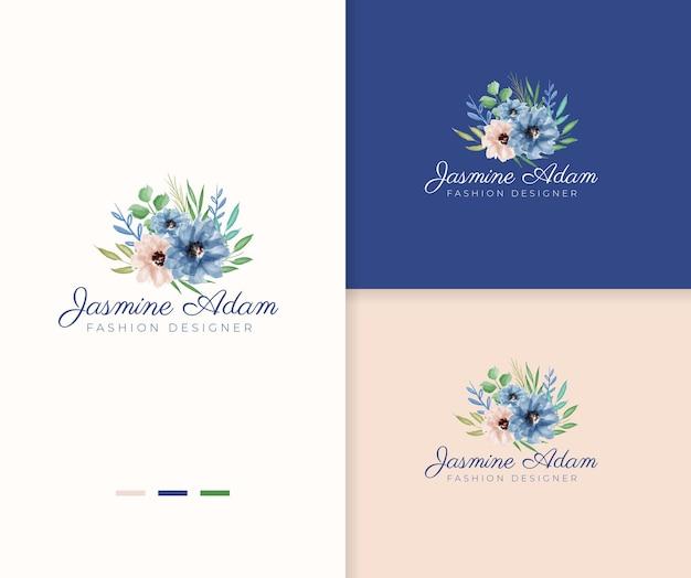 Romantic bouquet watercolor floral logo template