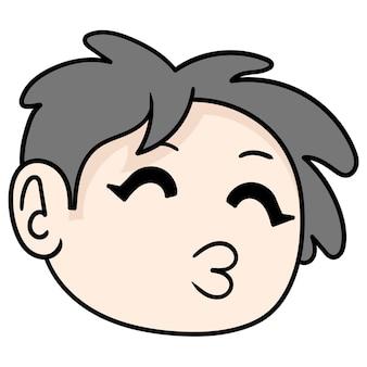Romantic boy wants to kiss smooch, vector illustration carton emoticon. doodle icon drawing
