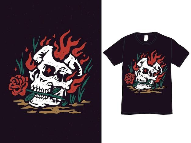 バラのtシャツのデザインとロマンチックな燃える頭蓋骨
