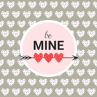 Romantic card be mine on a gray background with text in a circle. valentines day background in modern flat style