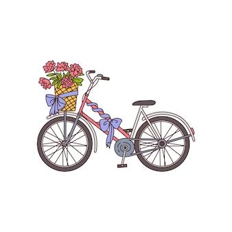 고립 된 꽃 벡터 일러스트와 함께 로맨틱 카드 요소 자전거