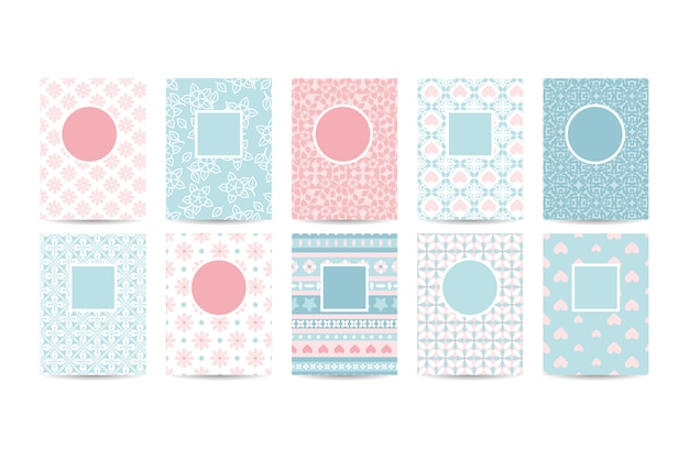 Romantic card templates with pink patterns