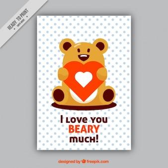 Romantic card with bear holding a heart