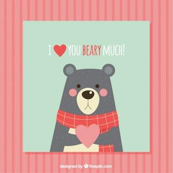 Scheda romantica con un orso carino
