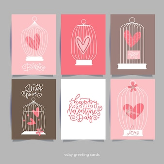 Romantic card with heart in cages. valentine's day greeting card.lettering quotes.