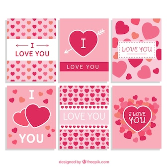 Romantic cards with hearts